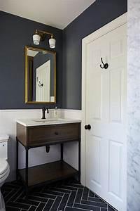 kids bathroom with gray slate herringbone floor tiles With kids bathroom flooring