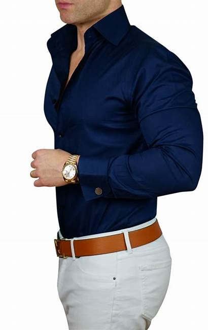 Shirt Navy Mens Formal Outfit Shirts Casual