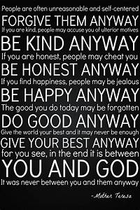 Do It Anyway By Mother Teresa | Need Inspiration?