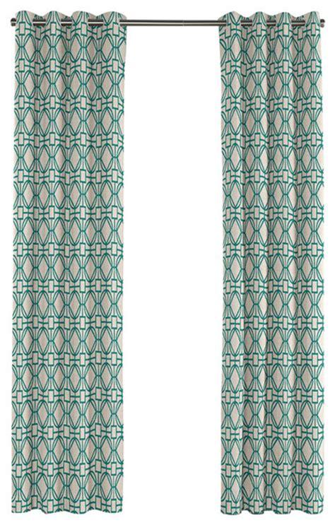 modern teal blue trellis grommet curtain contemporary