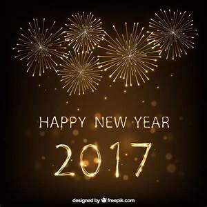 Happy New Yeark 2017 Fireworks Background Vector | Premium ...