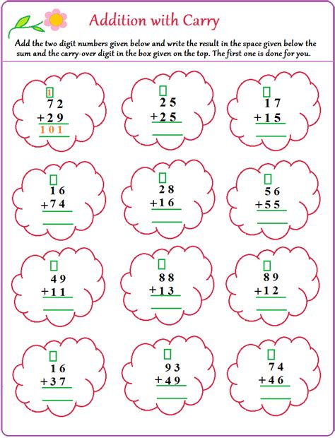 Carrying Addition Worksheets  3 Digit Column Addition Worksheets No Carrying 2 Two With And