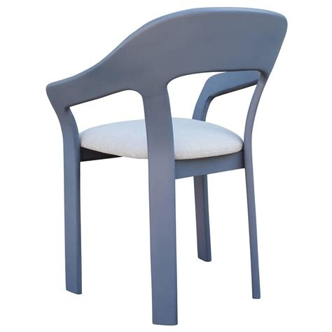 set of six sculptural blue grey dining chairs for