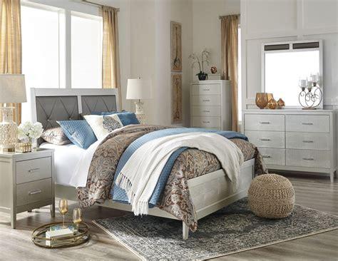 upholstered bedroom set olivet silver upholstered panel bedroom set from
