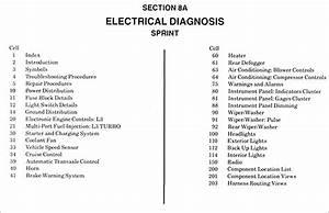 1987 Chevy Sprint Electrical Diagnosis Manual Original