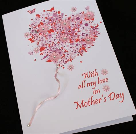 12 handmade s day large handmade personalised birthday or mother s day card baloon heart