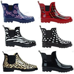 womens wellington boots canada womens boots rubber ankle wellies wellington pull on garden size 5 11 ebay