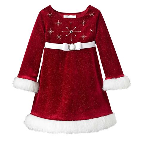 bonnie jean girls beaded santa christmas dress