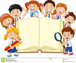 Cartoon School Children With Book Isolated Stock Vector ...