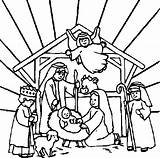 Coloring Jesus Manger Pages Born Crib Popular sketch template