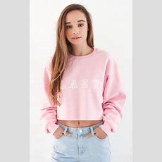 Lazy Oversized Cropped Sweater  Pink  Pink Brand