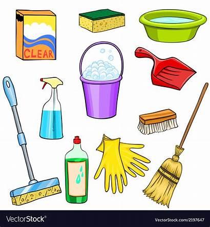 Cleaning Supplies Cartoon Clipart Vector Royalty Vectorstock