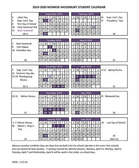 student calendar monroe woodbury central school district