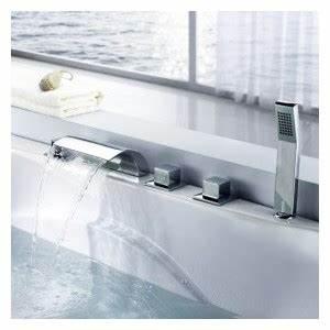 Robinet Cascade Baignoire : robinet de baignoire cascade contemporaine avec douche main fini chrome ~ Nature-et-papiers.com Idées de Décoration