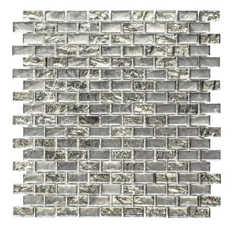 jeffrey court silver screen mosaic tile ms international cielo brick 12 in x 12 in x 8 mm glass