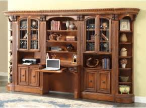 Bookcase Library Wall With 2-Piece Library Desk - Bookcases at