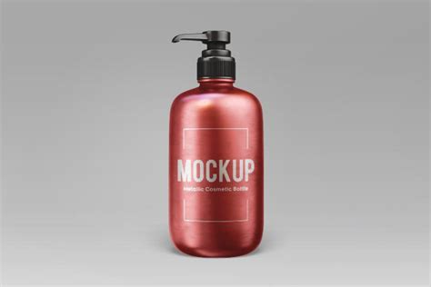 Easy to edit and customize. Metallic Cosmetic Bottle Mockup - Free Download