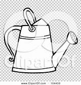 Watering Outline Coloring Gardening Clipart Illustration sketch template