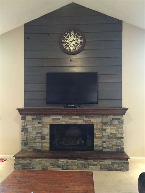 fireplace diy makeover  barnwood shiplap cleaned