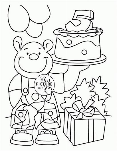 Coloring Birthday 5th Happy Pages Card Printables
