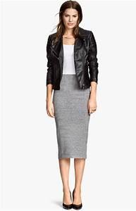 fa9732b2665 jupe crayon grise taille haute comment la porter en hiver tendances de mode