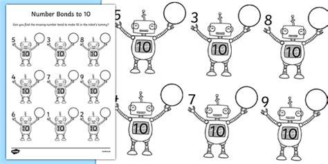 Number Bonds To 10 On Robots Worksheet