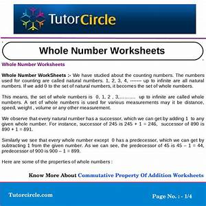 Whole Number Worksheets By Yatendra Parashar