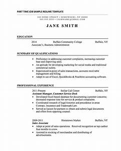 part time job resume template resume cv cover letter With sample of resume for part time job by student