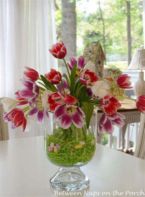 easter tulip centerpiece  pottery barn knock  double