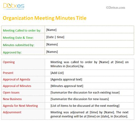 meeting minutes template  organization dotxes