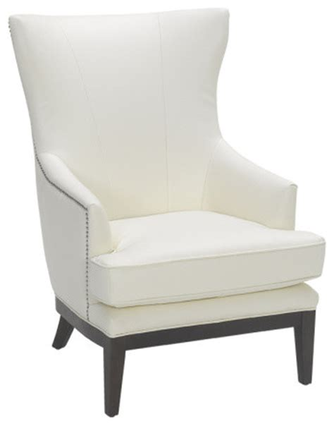 Reynaldo White Leather Wing Chair Contemporary