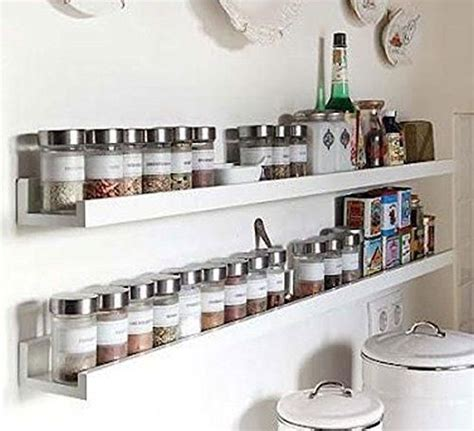 wall mount spice rack floating shelf wood white