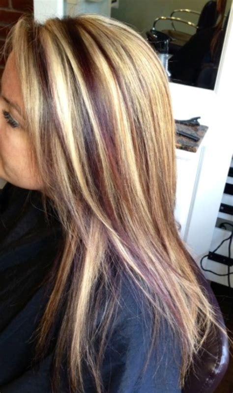 blonde highlights  red lowlights hair  krystie