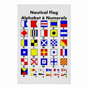 nautical flag alphabet numerals poster zazzle With nautical letter art