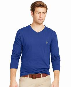 Polo V : polo ralph lauren long sleeved jersey v neck in blue for men deep ocean lyst ~ Gottalentnigeria.com Avis de Voitures