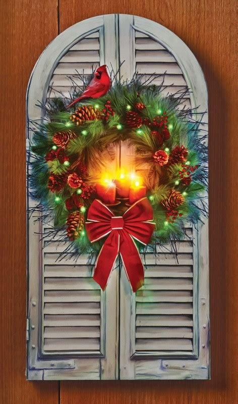 led fiber optic holiday window wreath canvas christmas