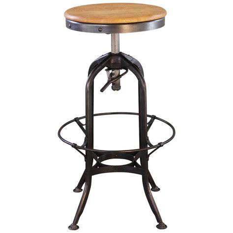 vintage industrial wood and metal adjustable backless toledo bar stool at 1stdibs