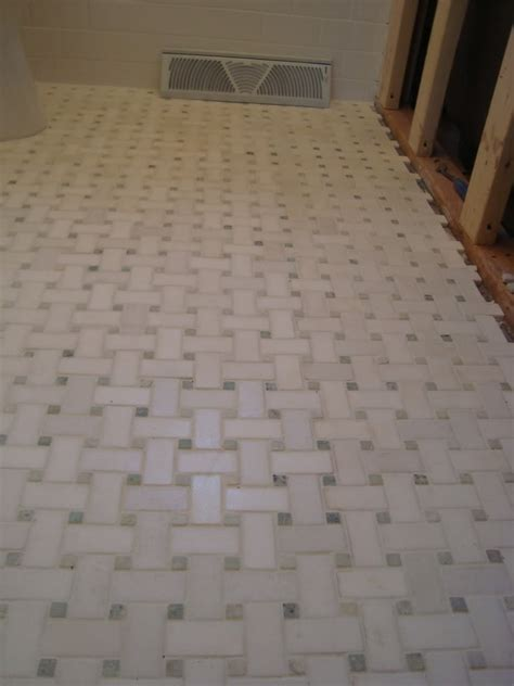 basketweave marble flooring