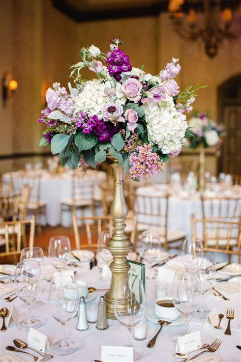 wedding reception centerpiece  white hydrangea lavender