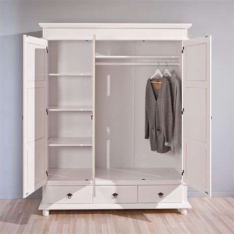 White Wooden Wardrobe With Drawers by Danzig Wooden Wardrobe In White With 3 Doors And 3 Drawers