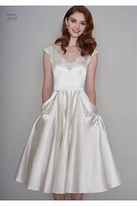 loulou tessa satin tea length vintage 1950s inspired short With short wedding dress with pockets