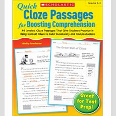 Product  Quick Cloze Passages For Boosting Comprehension Grades 23