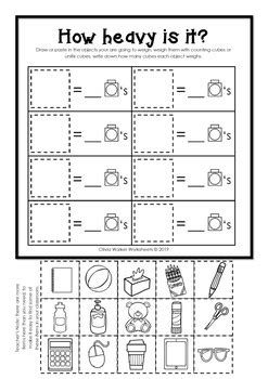 weight worksheets non standard measurement kindergarten grade one students