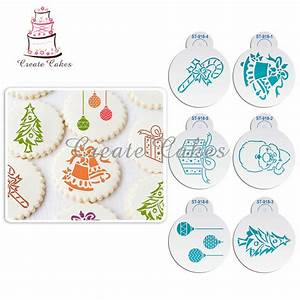 6Pcs Christmas Stencils Template for Cookie Christmas Tree