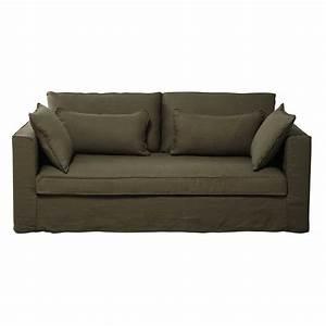 canape 3 places en lin lave vert olive zoe maisons du monde With tapis de course avec canapé en lin lavé