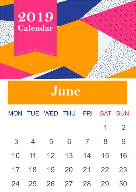 june  calendar printable template  holidays