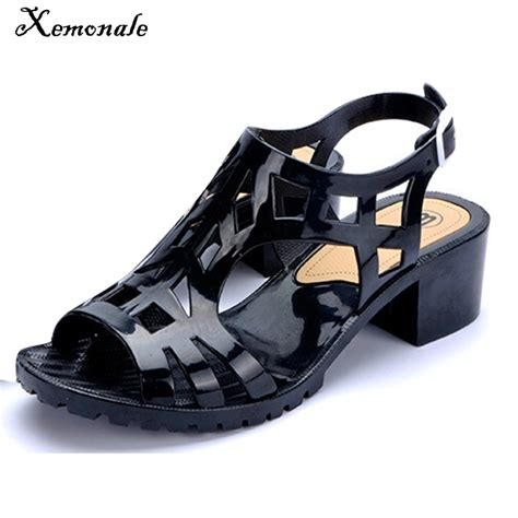 xemonale jelly sandals peep toe hollow out new summer style shoes square heel buckle