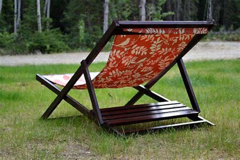 white build a wood folding sling chair deck chair