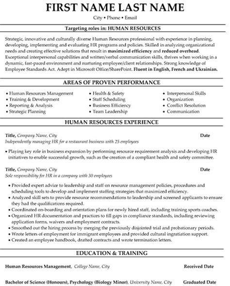 human resources resume sle template