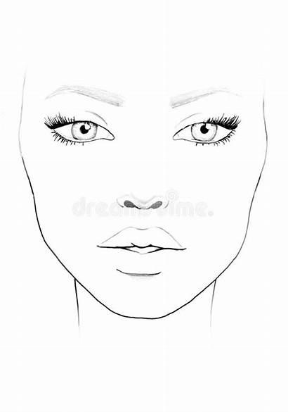 Face Makeup Blank Template Chart Woman Artist